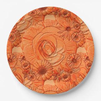 PLACAS grabadas en relieve del Flor-Naranja-PAPEL Platos De Papel