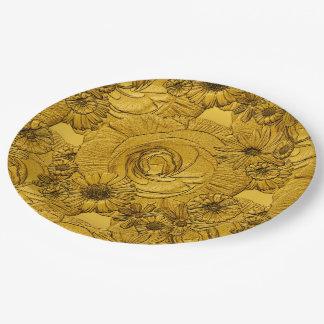 PLACAS grabadas en relieve del Flor-Oro-PAPEL Platos De Papel
