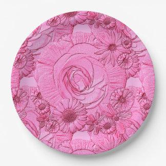PLACAS grabadas en relieve del Flor-Rosado-PAPEL Platos De Papel