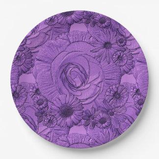 PLACAS grabadas en relieve del Púrpura-PAPEL Platos De Papel