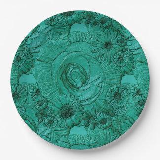 PLACAS grabadas en relieve del Verde-PAPEL del Platos De Papel