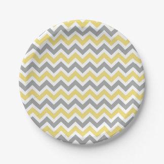 Placas grises y amarillas de Chevron Plato De Papel De 7 Pulgadas