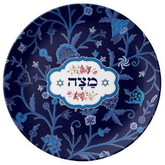 Placas hebreas de Seder del Passover del texto del Platos De Cerámica
