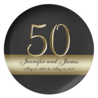 Placas impresas negro del aniversario de boda del  plato para fiesta