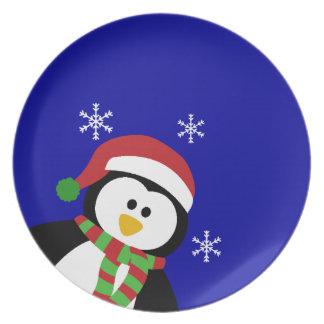 Placas lindas del pingüino del navidad platos