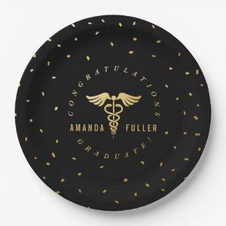 Placas médicas o de la escuela de enfermería de la platos de papel