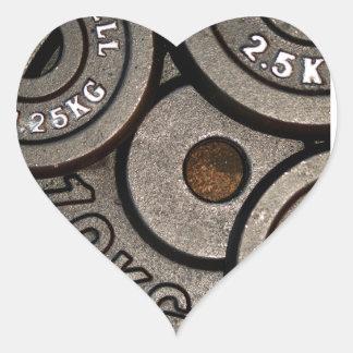 Placas negras del peso - impresión del pegatina en forma de corazón