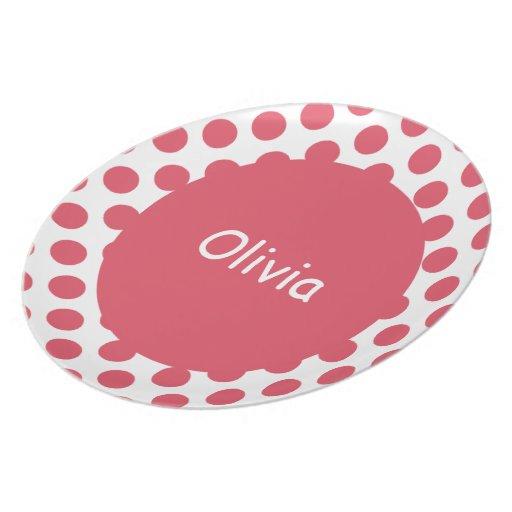 Placas personalizadas de los lunares del rosa del plato