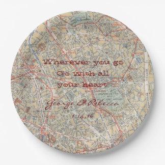 Placas personalizadas del mapa plato de papel de 9 pulgadas