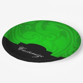 Placas personalizadas elegantes del Libro Verde Plato De Papel De 9 Pulgadas