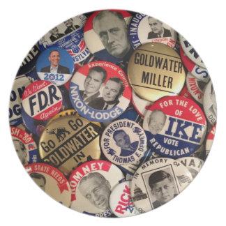 Placas políticas del botón plato de comida