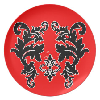 Placas rojas blancos y negros del modelo del damas plato para fiesta