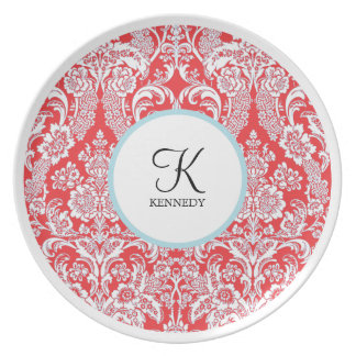 Placas rojas del día de fiesta del damasco el | de plato de comida