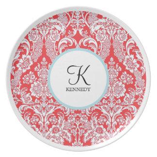 Placas rojas del día de fiesta del damasco el | de platos para fiestas