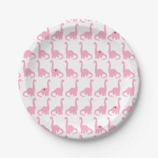 Placas rosadas del dinosaurio platos de papel