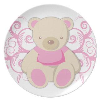 Placas rosadas del personalizado del oso de peluch plato para fiesta