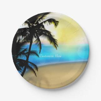Placas tropicales diurnas de la playa y del boda platos de papel