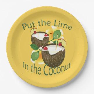 Placas tropicales hawaianas del fiesta del coco de plato de papel de 9 pulgadas