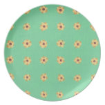 Placas verdes claras del estampado de plores amari platos de comidas