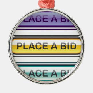 Place a Bid button web Metal Ornament