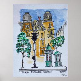 Place Alphonse Deville | Paris, France Poster