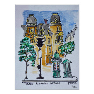 Place Alphonse Deville | Paris, France Poster