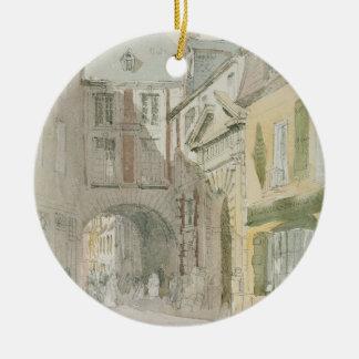 Place Barthelme, Paris, c.1829 (w/c & grey wash ov Ceramic Ornament