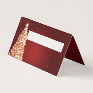 Place Card Christmas Wedding Party Gold Red
