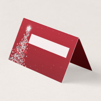 Place Card Christmas Wedding Silver Red