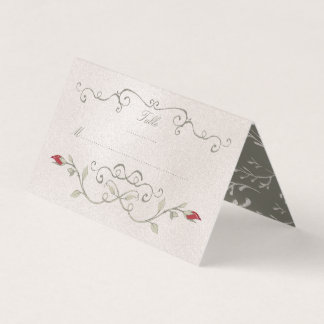 PLACE CARD   Elegant Red Rose of Beauty Wedding