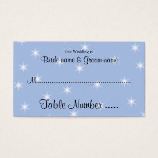 Place Card in Light Blue with White Stars.