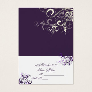 Place Card/Plum Swirls (Chubby Business Cards) Business Card