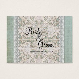 Place Card Rustic Lace w Aged Vintage Linen Burlap
