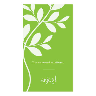 Place Card Wedding Leaf Branch lime green Double-Sided Standard Business Cards (Pack Of 100)