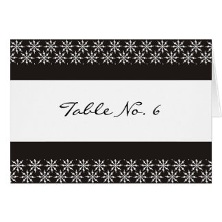 Place Cards - Black and white snowflakes