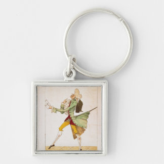 Place caricature of the returning emigrants Silver-Colored square keychain