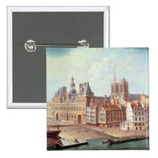 Place de Greve in 1750 Button