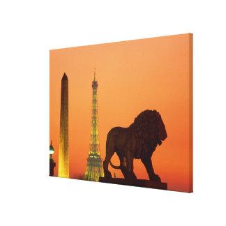 Place de la Concorde; Eiffel Tower; Obelisk; Canvas Print