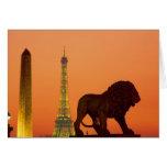 Place de la Concorde; Eiffel Tower; Obelisk; Card
