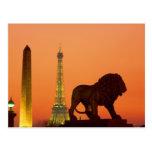 Place de la Concorde; Eiffel Tower; Obelisk; Postcard
