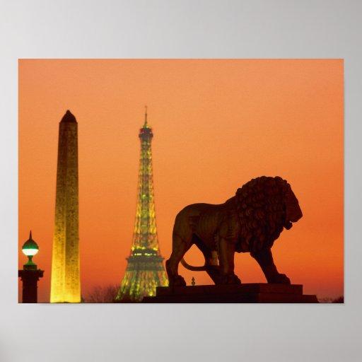 Place de la Concorde; Eiffel Tower; Obelisk; Print
