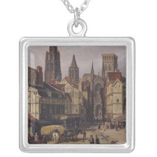 Place de la Haute-Vieille-Tour, Rouen, 1824 Silver Plated Necklace