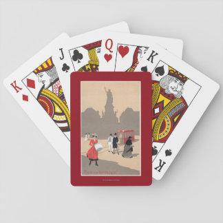 Place de la Republique Art Deco Scene Playing Cards