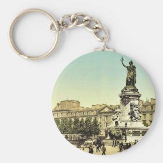Place de la Republique, Paris, France classic Phot Keychains