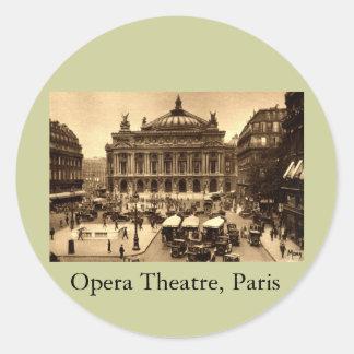 Place de l'Opera, Paris France c1925 Vintage Classic Round Sticker
