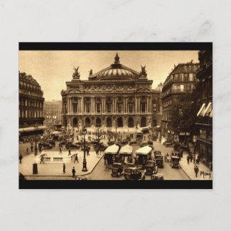 Place de l'Opera, Paris France c1925 Vintage postcard