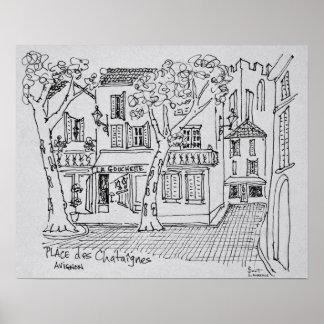 Place des Chataignes | Avignon, France Poster