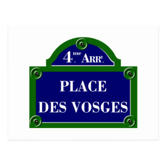 Place des Vosges, Paris Street Sign Postcard