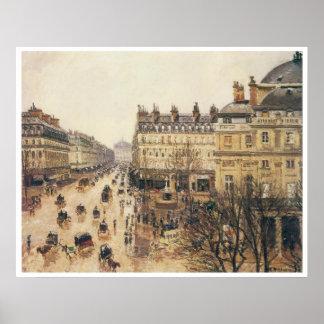 Place du Theatre Francais, lluvia, 1898 Póster