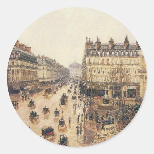 Place du Theatre Francais, lluvia de París por Pegatina Redonda